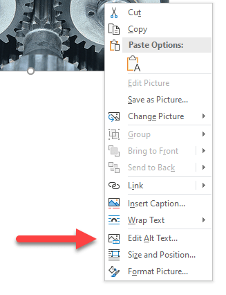 Screenshot of Microsoft Word image context menu