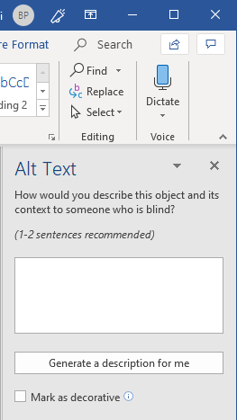 Screenshot of Microsoft Word alt text menu
