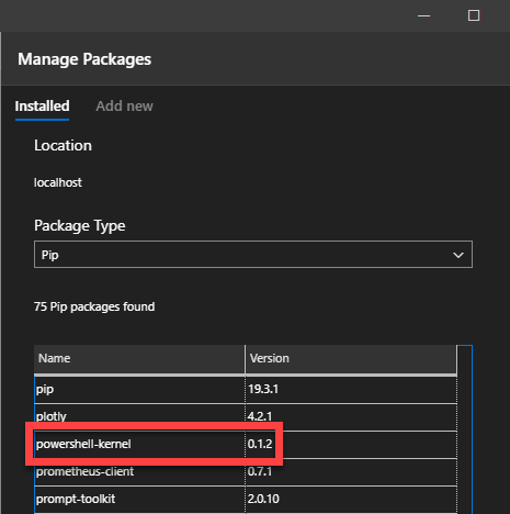 Screenshot showing list of installed packages in Azure Data Studio