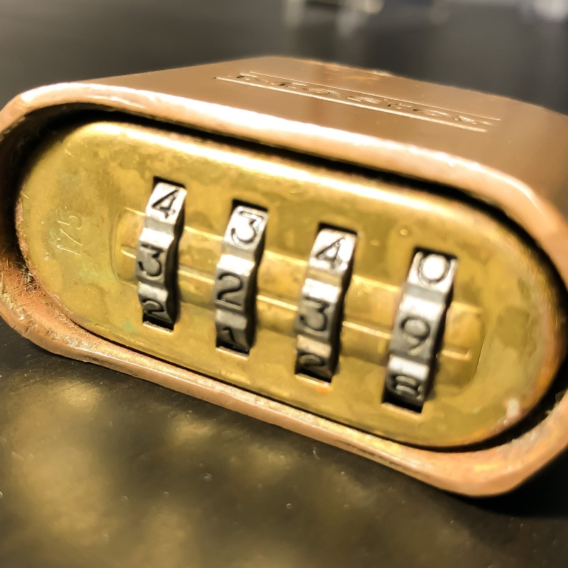 Number wheels on a padlock